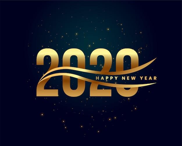 Creativo 2020 felice anno nuovo sfondo dorato Vettore gratuito