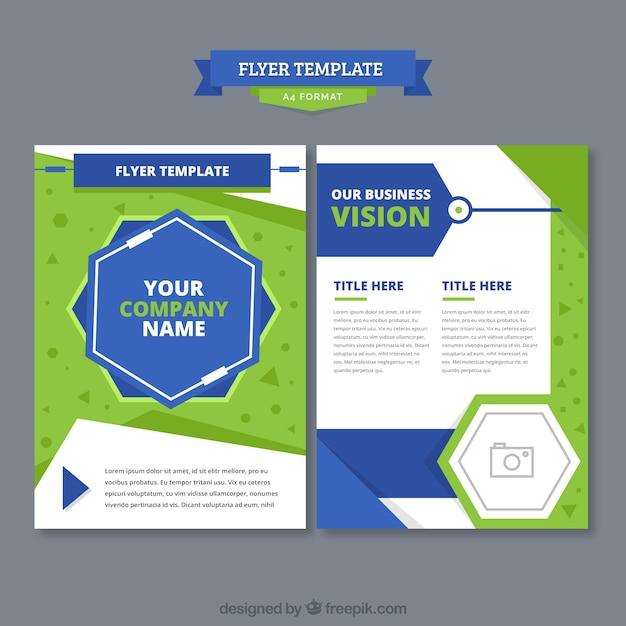 Creativo concetto di brochure verde e blu Vettore gratuito