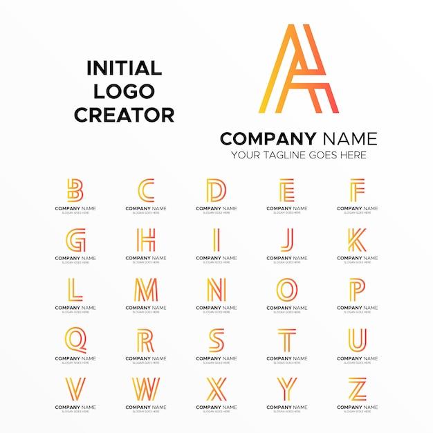 Creatore di logo iniziali da a a z line art Vettore Premium
