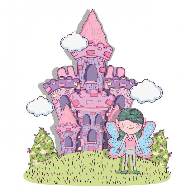 Creatura fantastica del ragazzo con castello e nuvole Vettore Premium