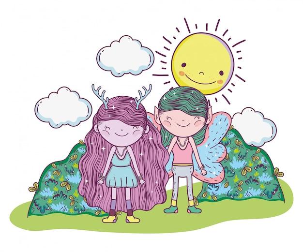 Creatura fantstic del ragazzo e della ragazza con il sole Vettore Premium