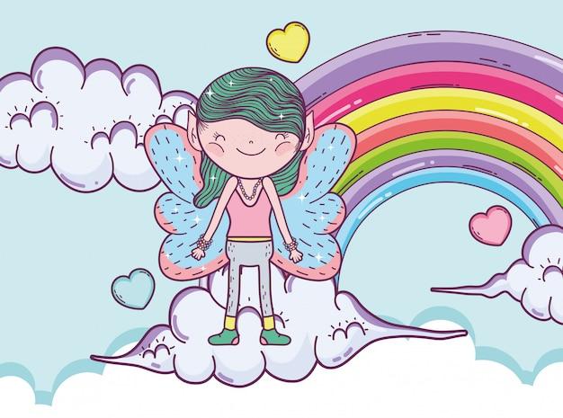Creatura fata ragazzo tra le nuvole con arcobaleno e cuori Vettore Premium