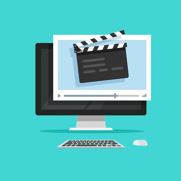 Creazione del film o produzione cinematografica online sullo stile piano del fumetto dell'illustrazione di concetto di vettore del computer Vettore Premium