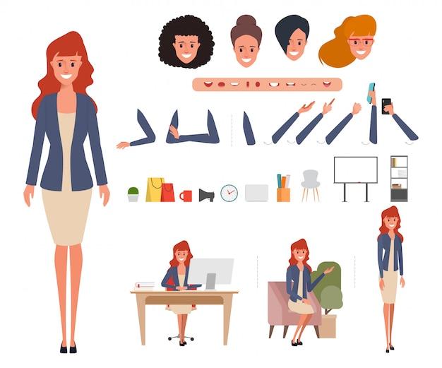 Creazione del personaggio donna d'affari per l'animazione. Vettore Premium