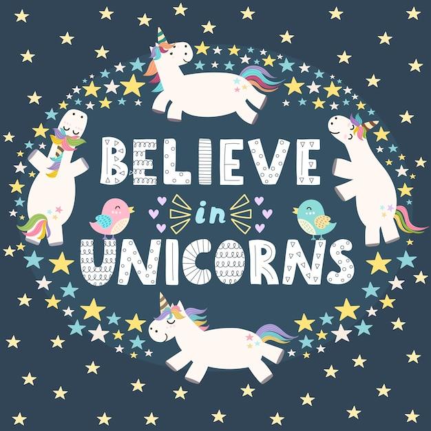 Credi nella carta carina di unicorni. Vettore Premium