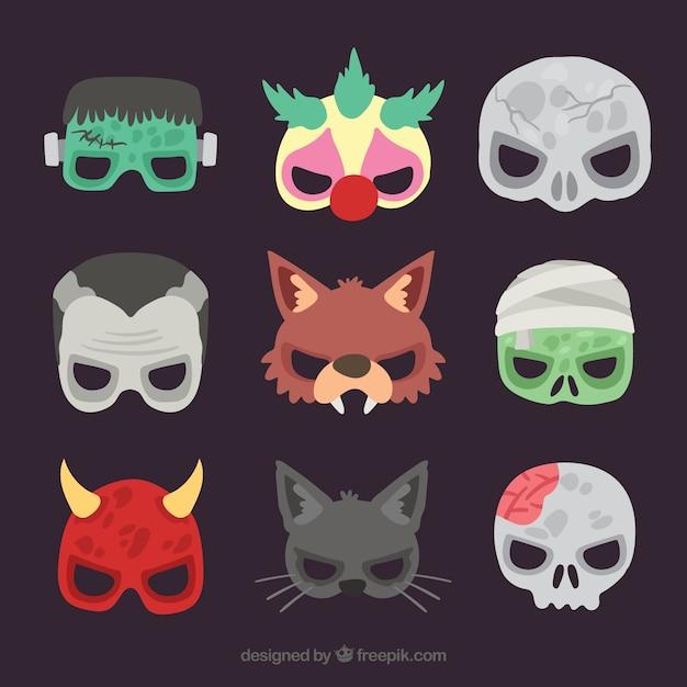 Creepy maschere di halloween a metà faccia Vettore gratuito