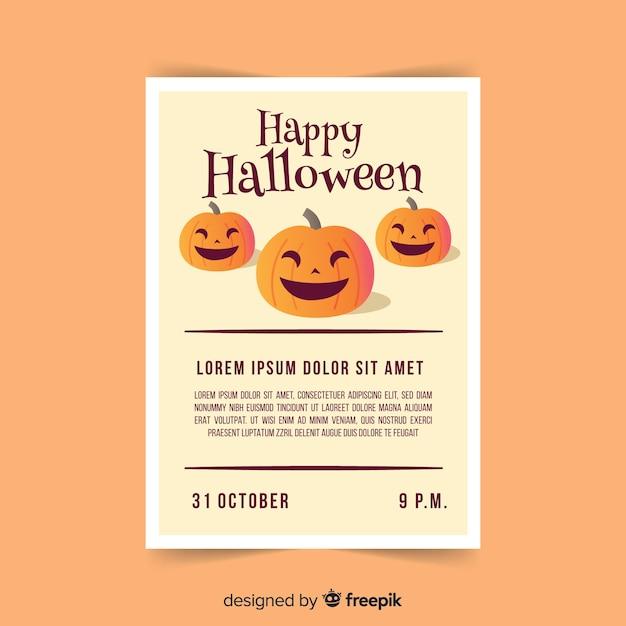 Creepy poster di halloween party con design piatto Vettore gratuito
