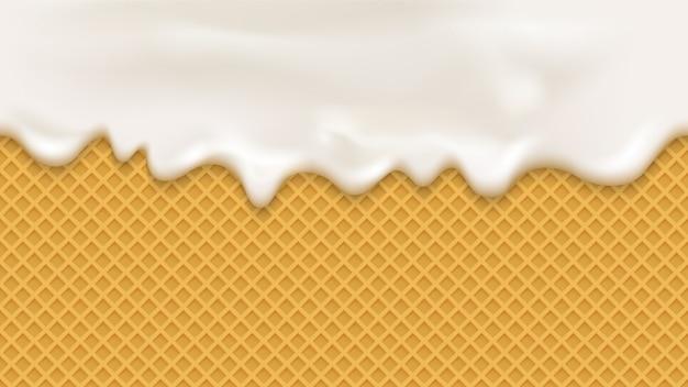 Crema bianca in stile realistico su sfondo di wafer Vettore Premium