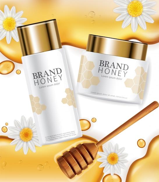 Crema con etichetta di estratto di miele Vettore Premium
