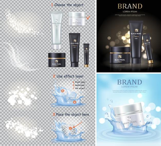 Crema perlata in bianco e nero e bottiglie isolate. lozione per la cura della pelle per le procedure di bellezza. cosmetici per donne significa promozione Vettore Premium