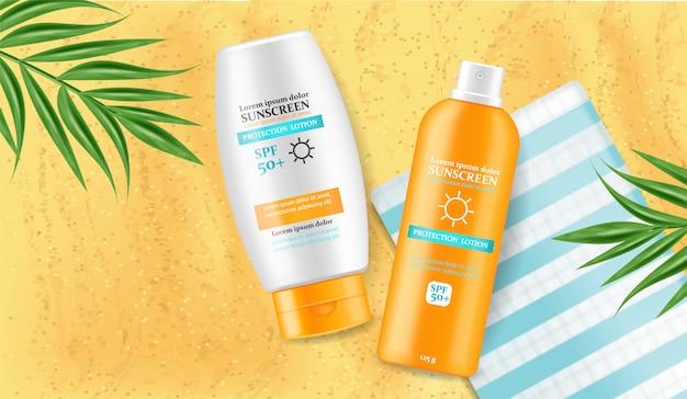 Crema solare crema mock up illustrazione Vettore Premium