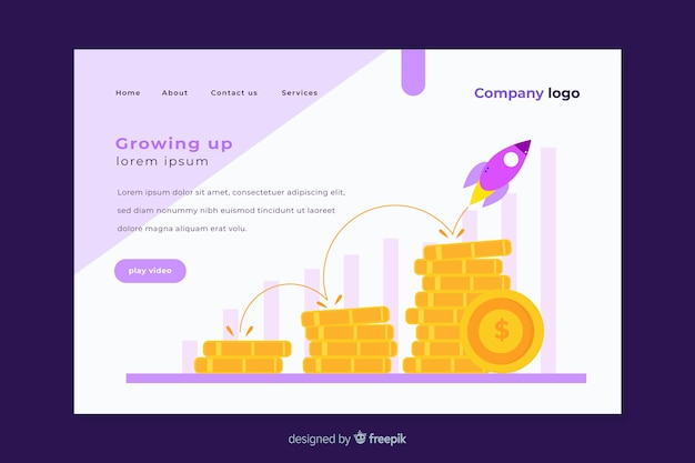 Crescere design della pagina di destinazione Vettore gratuito
