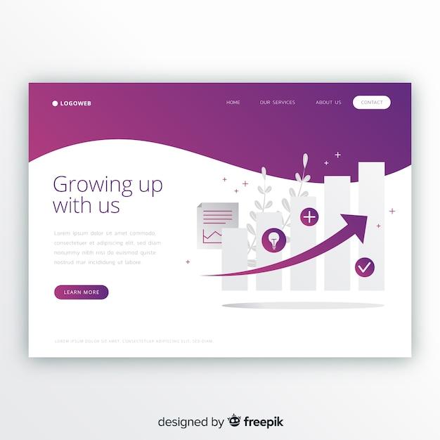 Crescere il modello di pagina di destinazione Vettore gratuito