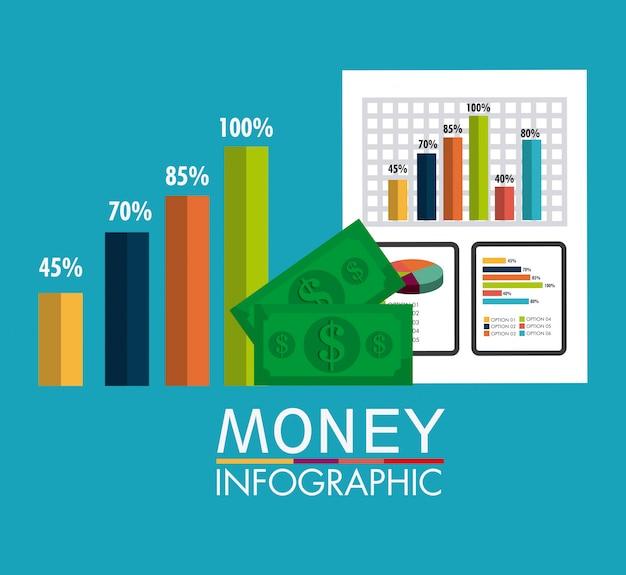 Crescita del business e statistiche sul risparmio di denaro Vettore gratuito