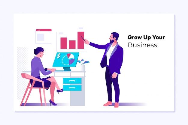 Crescita del business, progresso o concetto di successo Vettore Premium