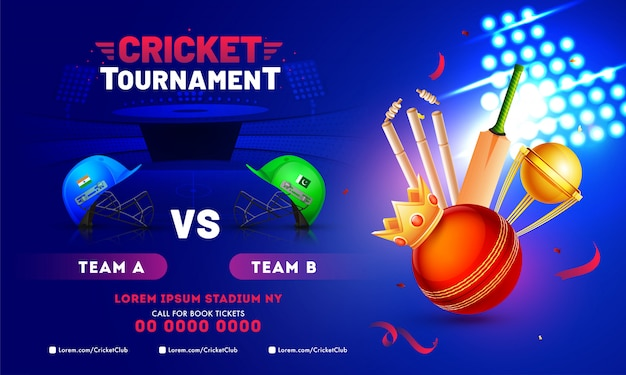 Cricket tournament banner design con attrezzature cricket Vettore Premium