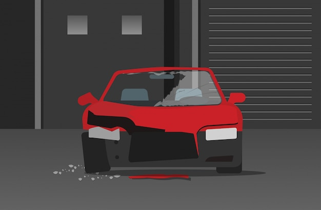 Criminalità automobilistica schiantata o incidente automobilistico nel fumetto piano della via di notte Vettore Premium
