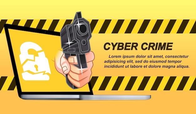 Crimine informatico in stile cartoon. Vettore Premium