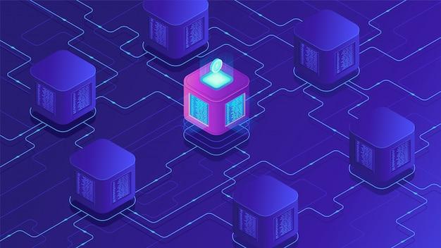 Criptovaluta isometrica blockchain e concetto di trasferimento dati. Vettore Premium