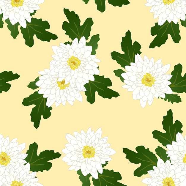 Crisantemo Bianco Su Sfondo Giallo Avorio Scaricare Vettori Premium
