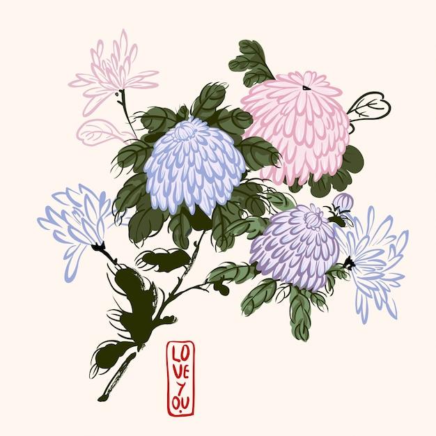 Crisantemo di fioritura di vettore nello stile cinese Vettore Premium