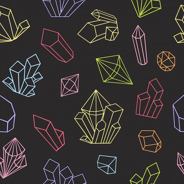 Cristalli grafici disegnati in stile art linea. modello senza soluzione di continuità. pagina del libro da colorare per adulti. colori vivaci su uno sfondo nero. Vettore Premium