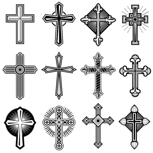 Croce cristiana cattolica con le icone di vettore dell'ornamento messe Vettore Premium