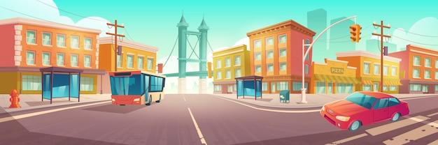Crocevia della città con autobus e auto su incrocio Vettore gratuito
