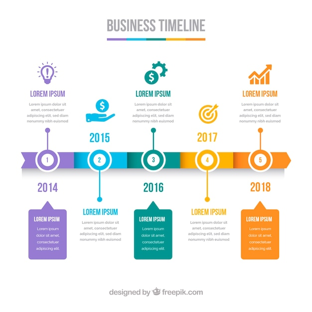 Cronologia aziendale colorato con design piatto Vettore gratuito