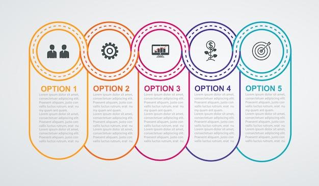 Cronologia cerchi con 5 passaggi. infografica aziendale Vettore Premium