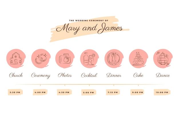 Cronologia del matrimonio nei toni rosa in stile lineare Vettore gratuito