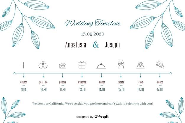 Cronologia delle nozze in stile lineare Vettore gratuito