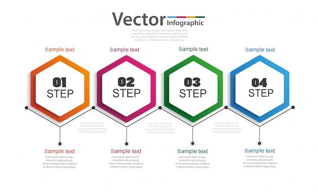 Cronologia di infographics di affari con 4 passaggi Vettore Premium