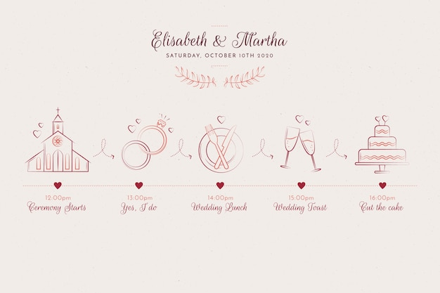 Cronologia di nozze disegnate a mano stile schizzo Vettore gratuito
