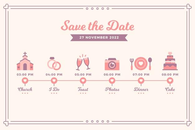 Cronologia di nozze rosa in stile lineare Vettore gratuito