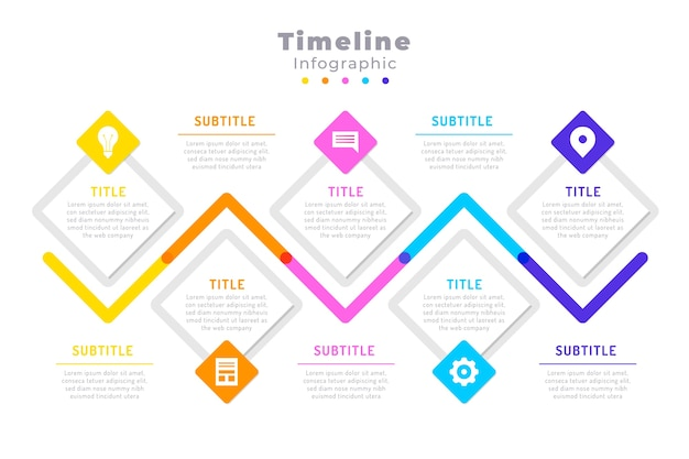 Cronologia infografica in design piatto Vettore gratuito