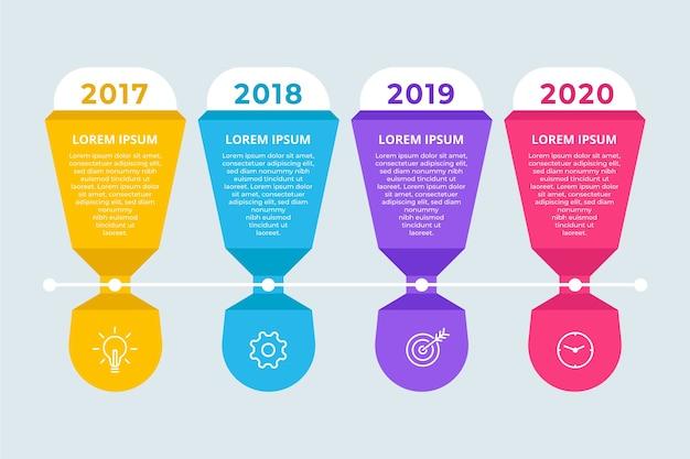 Cronologia infografica modello design piatto Vettore gratuito