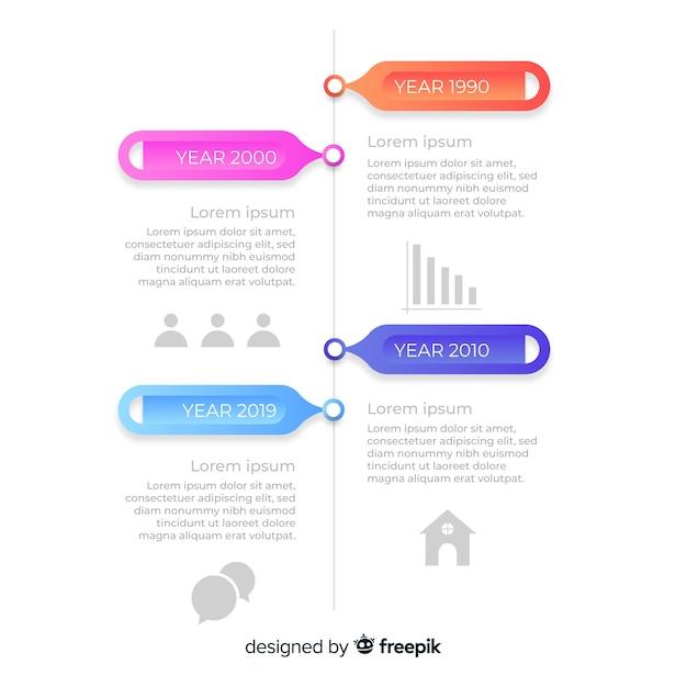 Cronologia infografica professionale Vettore gratuito
