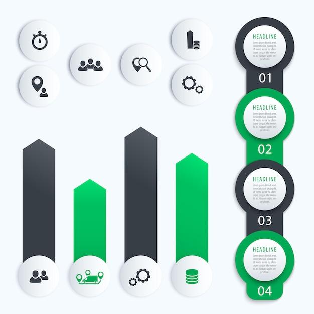 Cronologia verticale, elementi per infografica aziendale, 1, 2, 3, 4, etichette e grafico dei gradini, in grigio e verde Vettore Premium