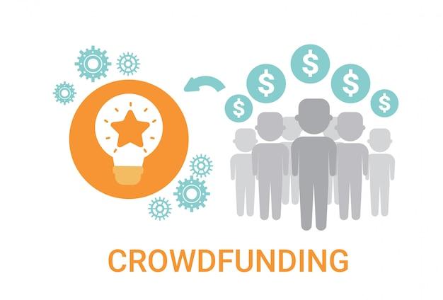 Crowdfunding crowdsourcing business resources idea sponsor icona di investimento Vettore Premium