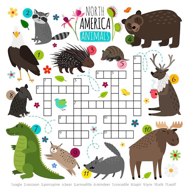 Cruciverba di animali. rompicapo di parole dei bambini con l'insieme dell'animale del nord america, gioco di puzzle di ricerca di parole Vettore Premium