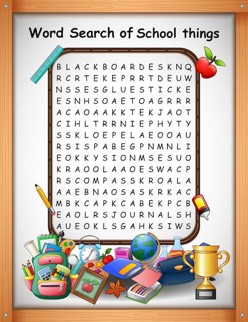 Cruciverba parola trova cose di scuola per i giochi per bambini Vettore Premium