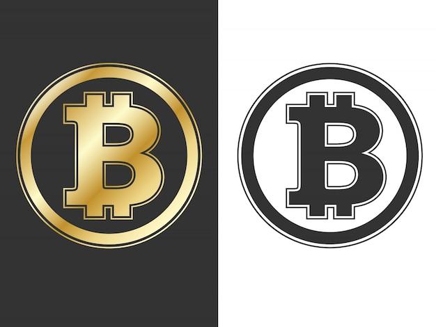 Crypto currency bitcoin symbols Vettore Premium