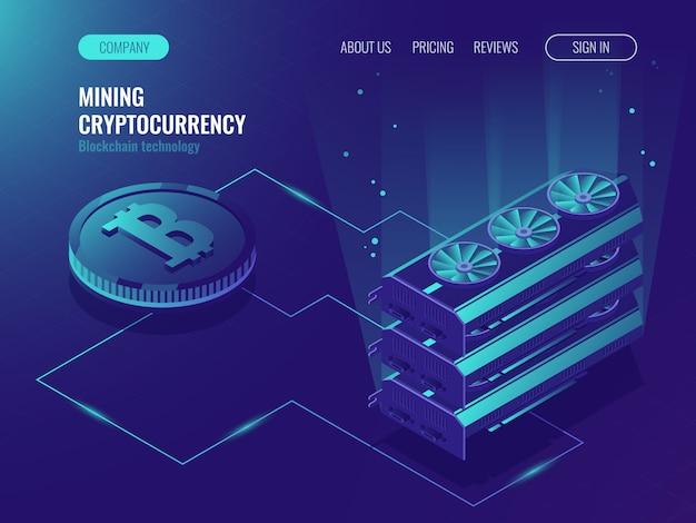 Crypto currency mining server della farm. blockchain isometrica, elaborazione di big data Vettore gratuito