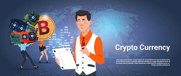 Crypto valuta banner uomo e donna in possesso di microchip bitcoin digital crypto money over world map Vettore Premium