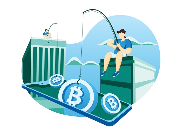 Crypto valuta web illustrazione Vettore Premium