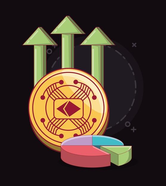 Cryptocoin e grafico a torta con frecce finanziarie Vettore Premium