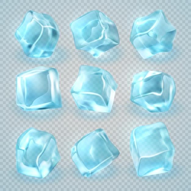 Cubetti di ghiaccio realistici 3d isolati su fondo trasparente. Vettore Premium