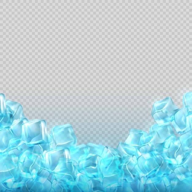 Cubetti di ghiaccio realistico isolati su sfondo trasparente. illustrazione trasparente freddo del cubetto di ghiaccio Vettore Premium
