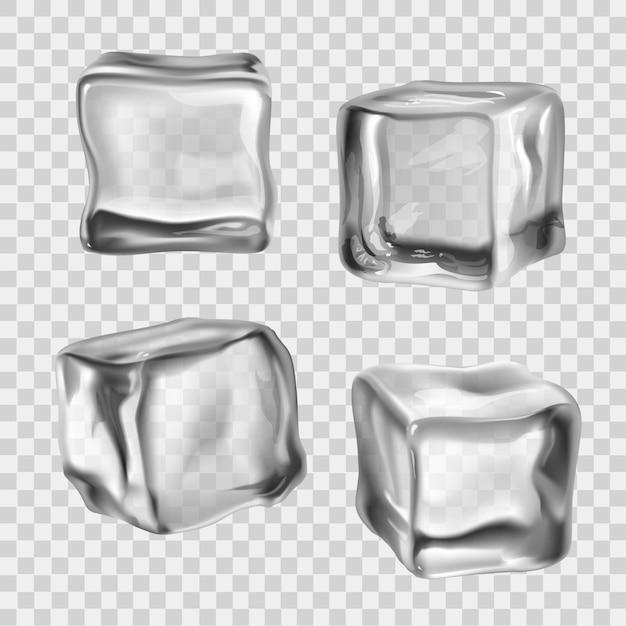 Cubetti di ghiaccio trasparente Vettore Premium